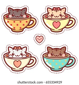 Set of Stickers Kittens in Cups