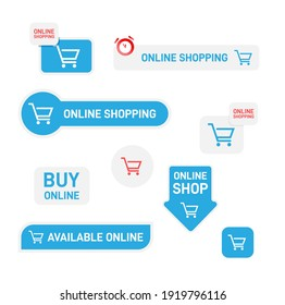 Set of stickers, labels and banners for online shop. Online shopping banner design. Vector illustration.