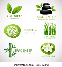 Set of stickers, labels, tags with text. Natural, eco food. Organic and nature logo design in vector. Green logotypes for beauty clinic or yoga center.  Signs of leaves, flowers and grass.