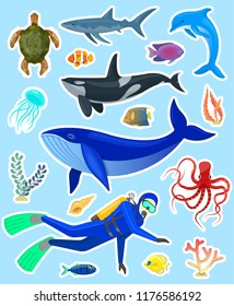 Set of stickers with ocean animals and divers on blue background.Vector illustration.