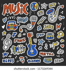 Set of stickers and patches with different music elements - lettering words volume, blues, punk and symbols like guitar, microphone.