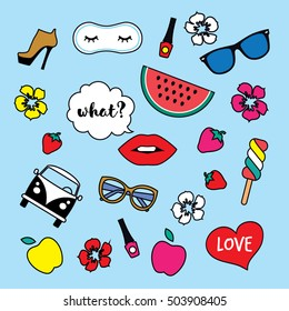 Set of Stickers, Pins, Patches in cartoon Girl style. Fashion Badges with lips, heart, speech bubble, glasses, camper, retro bus, ice cream. Vector illustration isolated on blue background.