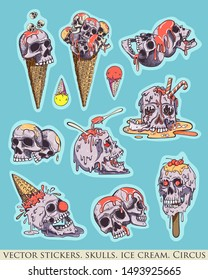 Set of stickers, pins. Skull, ice cream and evil clown. Creepy, fun cartoon illustration. Vintage calm colors.