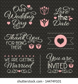 Set of stickers and ribbons, wedding design elements, vector illustration