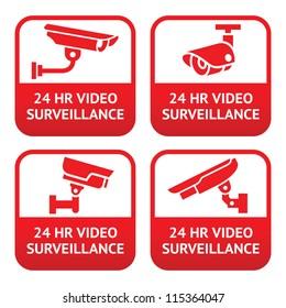 Set stickers for security alarm cctv, camera surveillance