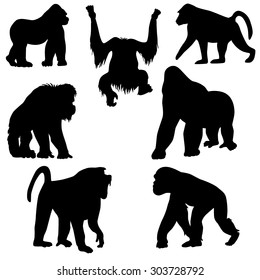Set of the stickers with silhouettes of monkeys.