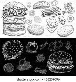 Set of stickers in sketch style, food and spices, old paper textured background. Fast food. Hamburger, ingredient, mushrooms, tomato, onion, bacon, cheese, salad.