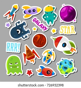 Set of stickers with space objects and monsters. Cartoon vector illustration for children. Monster alien and ufo spaceship stickers collection