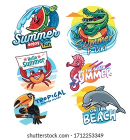 set of stickers for summer logo