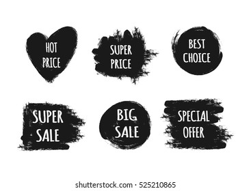 A set of stickers with the text Hot Price, Best Choice, Special offer, Super Big Sale. Ragged brush strokes. Black, white. Isolated elements.