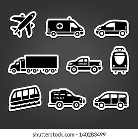 Set of stickers, transport icons, vector illustration