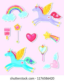Set of stickers with unicorns,hearts,clouds, rainbow and other elements on pink background.