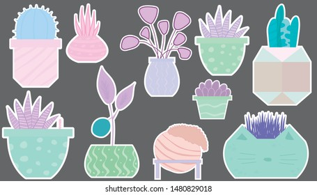 Set of stickers with unusual home plants in unusual marble or clay  colored pots. Objects are drawn in the Scandinavian style (flat simple drawing).