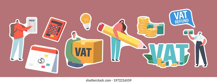 Set of Stickers Vat, Value Added Tax Return. Male or Female Characters Getting Refund for Foreign Shopping. People Save Budget, Get Money, Tax Free Airport Service. Cartoon Vector People Illustration - Shutterstock ID 1972216559