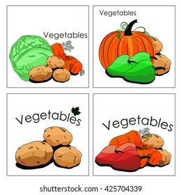 Set of stickers of vegetables in markets. It can be used for department in markets or stalls, advertising and any other application