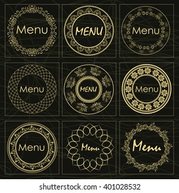 Set of stickers in vintage gold style for a beautiful decorated restaurant menu, a cafe and snack bars can be used as a logo
