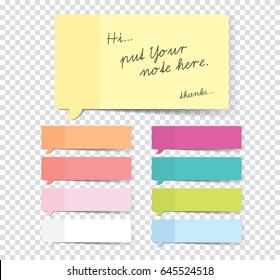 Set of sticky stickers with shadow isolated on a transparent background. Vector.