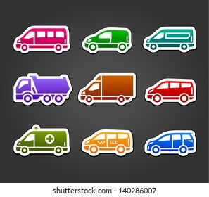 Set of sticky stickers, transport color signs, vector illustration