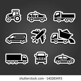 Set of sticky stickers, transport icons, vector illustration