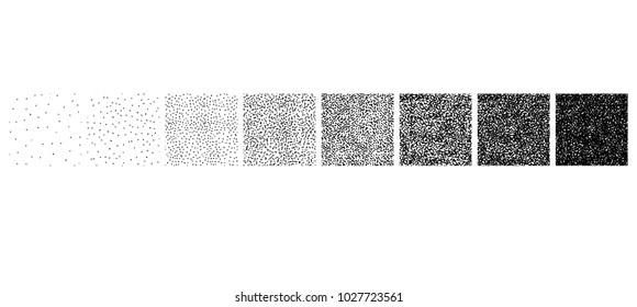 Set of stipple Seamless pattern for design. Set of gradient ink textures, Random halftone, pointillism. vector illustration