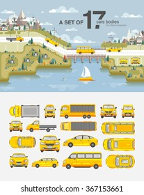 Set stock vector illustration cars, buildings with road, bridge, snow-capped mountains, park, field, tree, house, sailboat, wakeboarder near sea flat style element infographic, printed, website, icon