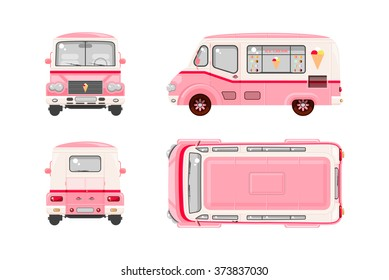 Set stock vector illustration isolated pink Ice cream car, on wheels top, front, side, back view flat style white background Element infographic, website, icon