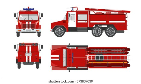 Set stock vector illustration isolated red fire engine top, front, side, back view flat style white background Element infographic, website, icon