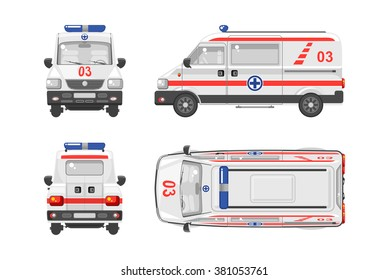 Set stock vector illustration isolated ambulance car top, front, side, back view flat style white background Element infographic, website, icon