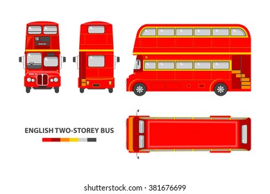 Set stock vector illustration isolated English red double-decker bus top, front, side, back view flat style white background Element infographic, website, icon