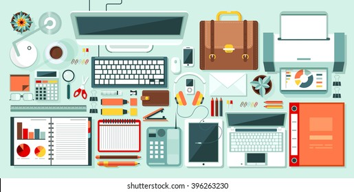Set stock vector illustration isolated office supplies, gadgets, stationery on desktop in flat style white background element infographics, websites, icons, games, video, Motion Design