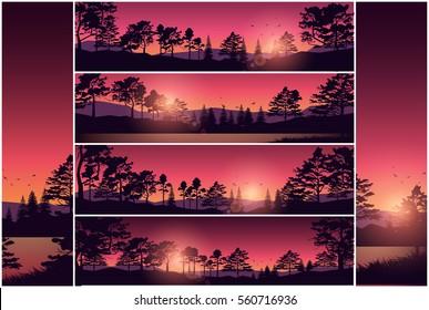 Set stock vector illustration nature background header title website. Silhouette tree sky red sunset sunrise river. Wide banner footer horizontal slider menu site image backdrop. Corporate business