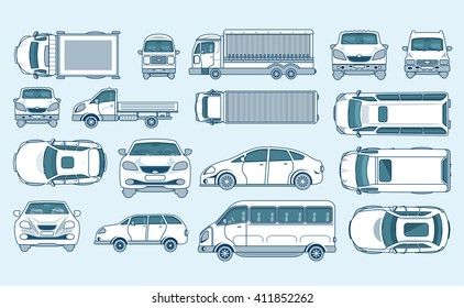 Set stock vector illustration yellow car hatchback, delivery, light truck with trailer, minibus, sedan top, front, side view line style gray background Element info graphic, website, icon