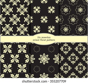 set of stock vector seamless oriental floral pattern.