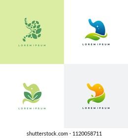 Set of Stomach logo designs concept, Healthy Stomach logo template, Nature Stomach logo