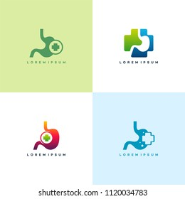 Set of Stomach logo symbol, Stomach Heal logo designs vector template