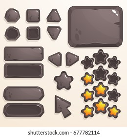 Set of stone buttons for game design and applications
