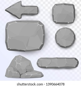 A set of stone buttons and patterns: round, square stone panel, arrow, cobble. Stone elements