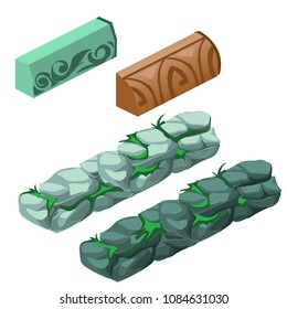 Set of stone elements for creating of walkways isolated on a white background. Vector cartoon close-up illustration.