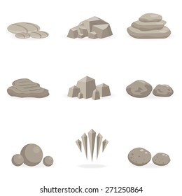 set stone, rock and pebble element decor isolated for game art architecture design