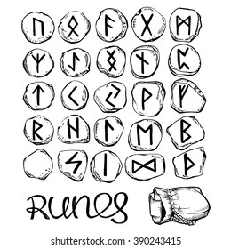 Set of stone runes. Hand drawn vector illustration.
