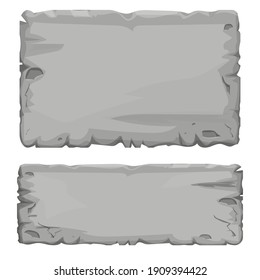 Set of Stone tablet, rock banner with cracked elements in cartoon style isolated on white background. Grey frame, block boulder for interface ui games.
