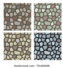 Set of stone textures. Stones, cobbles to use as a texture for wall or pavement.  Seamless vector pattern