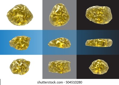 Set stones, gold nuggets, glass objects. Elements for decor, design, decoration