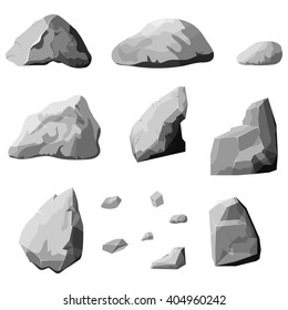 Set of stones, rock elements different shapes and shades of gray, cartoon style boulders set, flat design on white background, vector