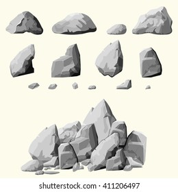 Set of stones, rock elements different shapes and shades of gray, cartoon style boulders set, flat design, on white background, you can simply regroup rocks, vector