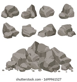 Set of stones of various shapes. Rocks and debris of the mountain. Huge block of stones. Vector illustration EPS10