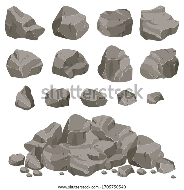 Set of stones of various shapes. Rocks and debris of the mountain. Huge block of stones