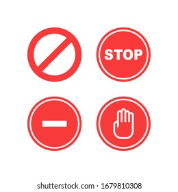 Set of Stop icons. Vector illustration in flat design