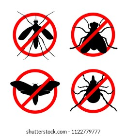 Set of stop insect vector icons. Insects control services concept. Protection against insects. Anti mosquito, anti fly, anti bug and anti moth icons.