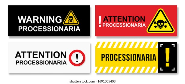 Set of Stop Pine or Oak processionary marching. Caterpillar moth procession OPM signs Tiny hairs allergic reaction. Waring Poisonous banner tree lind Beware sign Nest. Isolated vector illustration.